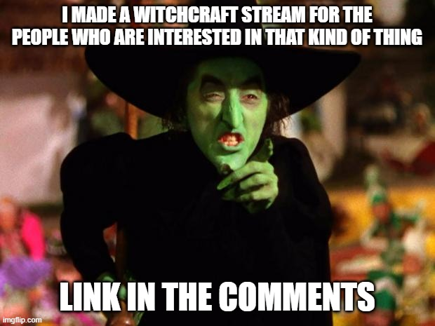 wicked witch  |  I MADE A WITCHCRAFT STREAM FOR THE PEOPLE WHO ARE INTERESTED IN THAT KIND OF THING; LINK IN THE COMMENTS | image tagged in wicked witch,new stream,witchcraft | made w/ Imgflip meme maker