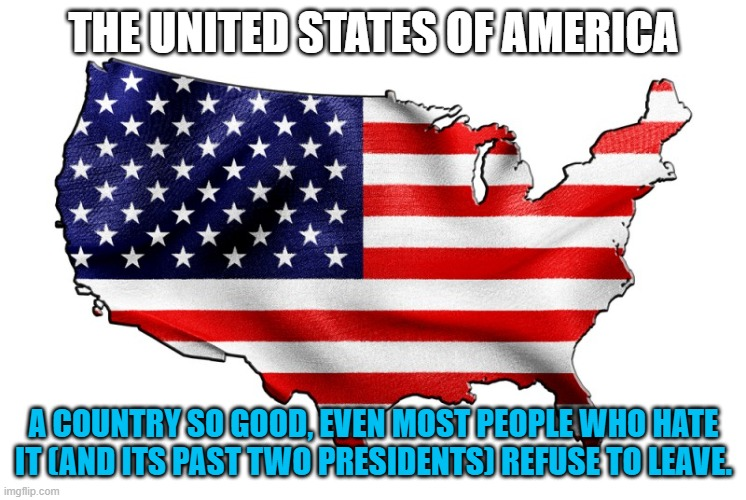 They hate it, but they seldom leave |  THE UNITED STATES OF AMERICA; A COUNTRY SO GOOD, EVEN MOST PEOPLE WHO HATE IT (AND ITS PAST TWO PRESIDENTS) REFUSE TO LEAVE. | image tagged in united states of america,memes,politics,virtue signalling | made w/ Imgflip meme maker