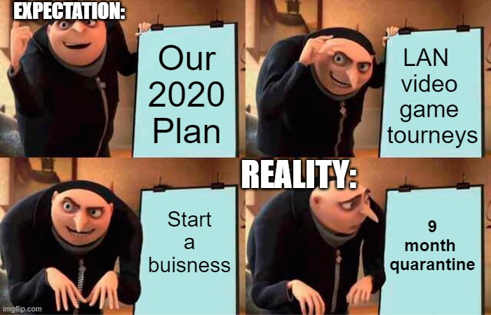 My first meme |  EXPECTATION:; LAN  video game  tourneys; Our 2020 Plan; REALITY:; Start a buisness; 9 month  quarantine | image tagged in memes,gru's plan,funny | made w/ Imgflip meme maker