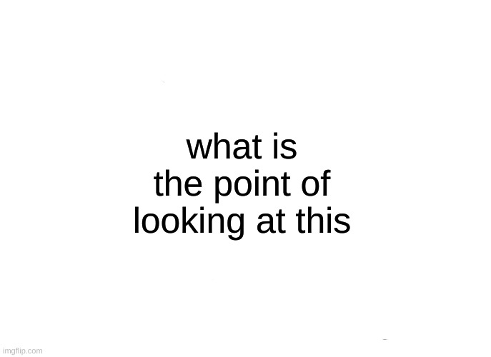 what's the point |  what is the point of looking at this | image tagged in memes,not funny,pointless | made w/ Imgflip meme maker