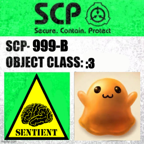 SCP-999-B :3 |  999-B; :3 | image tagged in nope bruh | made w/ Imgflip meme maker