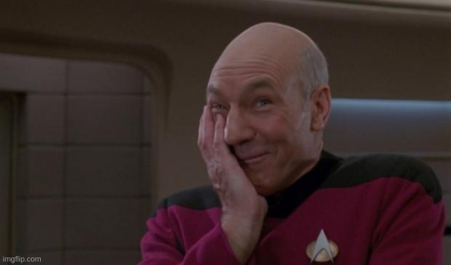 laughing Picard | image tagged in laughing picard | made w/ Imgflip meme maker