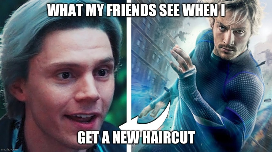 Quickslivers be like |  WHAT MY FRIENDS SEE WHEN I; GET A NEW HAIRCUT | image tagged in quicksliver evean peters | made w/ Imgflip meme maker