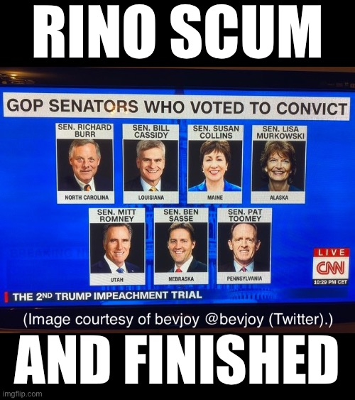 RINO scum—and finished! |  RINO SCUM; AND FINISHED | image tagged in president trump,donald trump,election 2020,election fraud,trump impeachment,trump wins | made w/ Imgflip meme maker