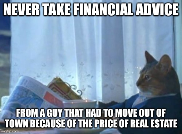 I Should Buy A Boat Cat |  NEVER TAKE FINANCIAL ADVICE; FROM A GUY THAT HAD TO MOVE OUT OF TOWN BECAUSE OF THE PRICE OF REAL ESTATE | image tagged in memes,i should buy a boat cat | made w/ Imgflip meme maker