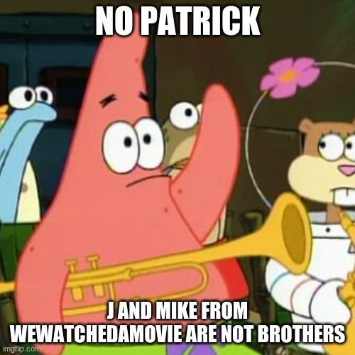 For all we know, Mike may be the brother of Afraid to Ask Andy. |  NO PATRICK; J AND MIKE FROM WEWATCHEDAMOVIE ARE NOT BROTHERS | image tagged in memes,no patrick,wewatchedamovie,youtube,brothers,so yeah | made w/ Imgflip meme maker