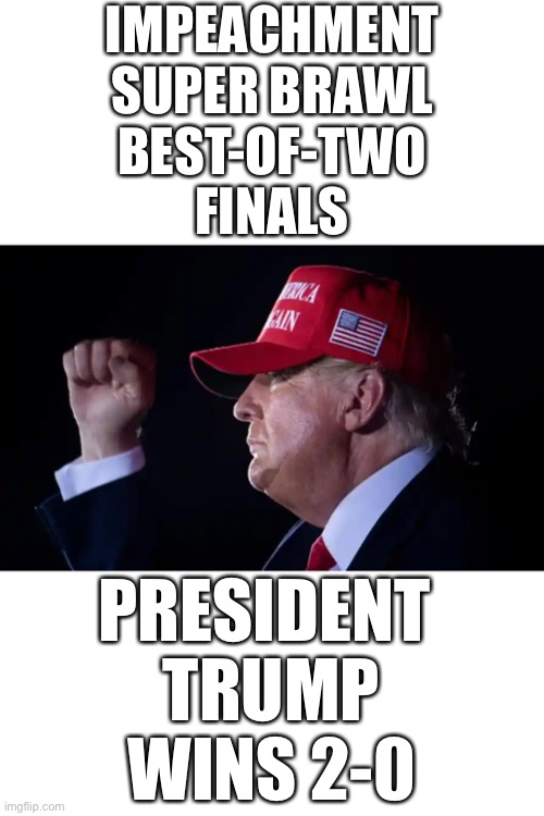 President Trump wins 2-0! |  IMPEACHMENT SUPER BRAWL BEST-OF-TWO FINALS; PRESIDENT  TRUMP WINS 2-0 | image tagged in donald trump,president trump,election 2020,election fraud,democrat party,government corruption | made w/ Imgflip meme maker