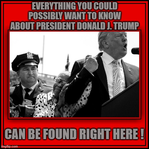 EVERYTHING YOU COULD POSSIBLY WANT TO KNOW ABOUT PRESIDENT DONALD J. TRUMP; CAN BE FOUND RIGHT HERE ! | made w/ Imgflip meme maker