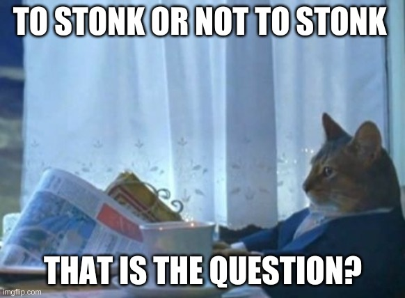 I Should Buy A Boat Cat |  TO STONK OR NOT TO STONK; THAT IS THE QUESTION? | image tagged in memes,i should buy a boat cat | made w/ Imgflip meme maker