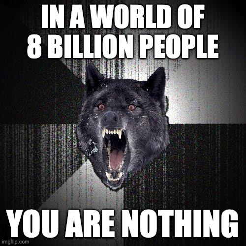 In a world of 8 billion people. You are nothing.