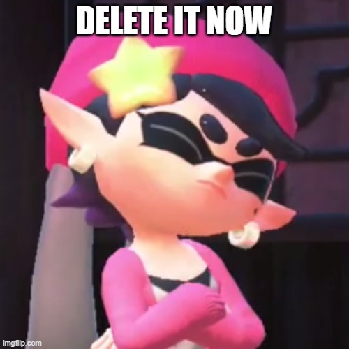 Upset Callie | DELETE IT NOW | image tagged in upset callie | made w/ Imgflip meme maker