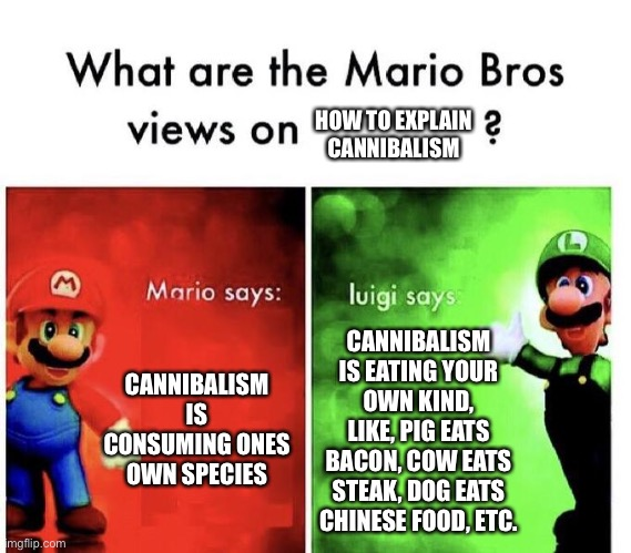 Y e e t u s |  HOW TO EXPLAIN CANNIBALISM; CANNIBALISM IS CONSUMING ONES OWN SPECIES; CANNIBALISM IS EATING YOUR OWN KIND, LIKE, PIG EATS BACON, COW EATS STEAK, DOG EATS CHINESE FOOD, ETC. | image tagged in mario bros views,cannibalism,china | made w/ Imgflip meme maker