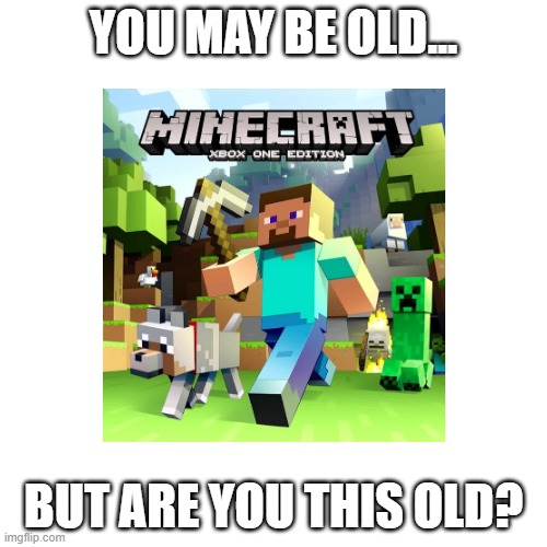Remember this? |  YOU MAY BE OLD... BUT ARE YOU THIS OLD? | image tagged in minecraft,xbox one | made w/ Imgflip meme maker