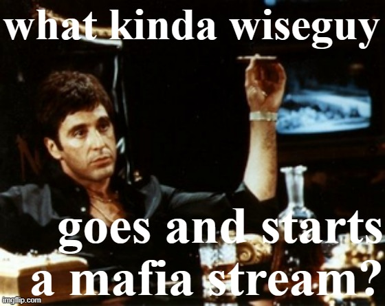 you tryn'a get us killed? eh? |  what kinda wiseguy; goes and starts a mafia stream? | image tagged in al pacino cigar booze | made w/ Imgflip meme maker
