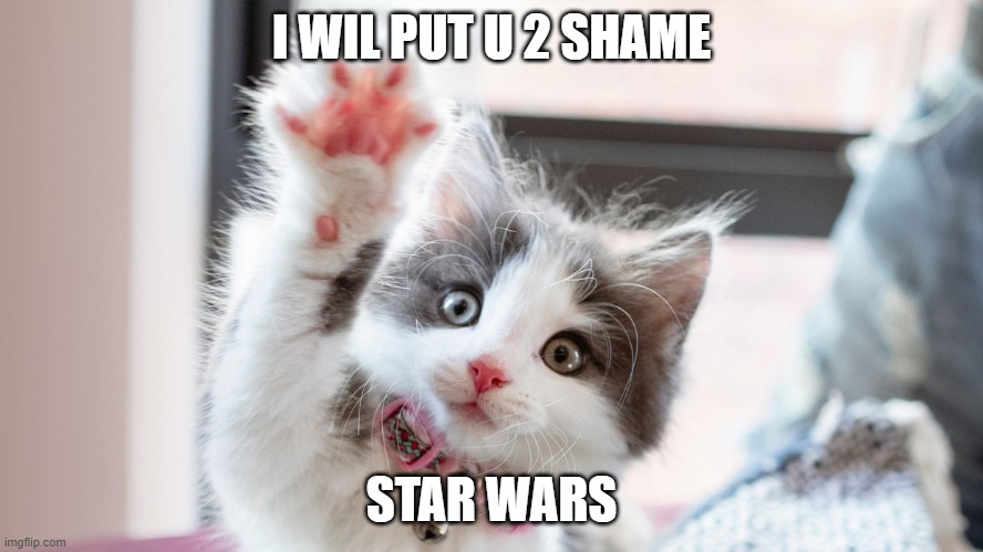 I WIL PUT U 2 SHAME; STAR WARS | made w/ Imgflip meme maker