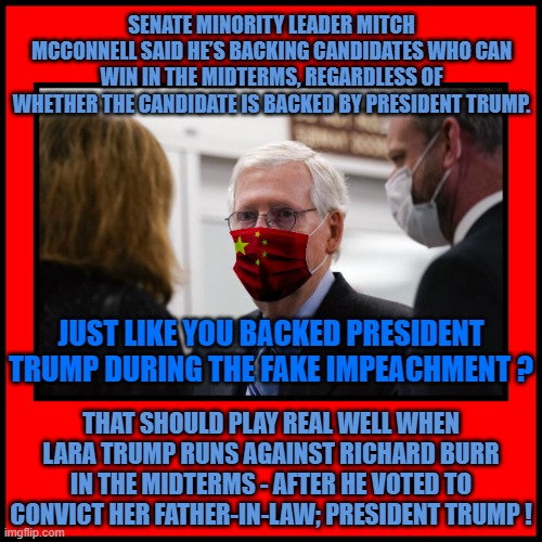 SENATE MINORITY LEADER MITCH MCCONNELL SAID HE'S BACKING CANDIDATES WHO CAN WIN IN THE MIDTERMS, REGARDLESS OF WHETHER THE CANDIDATE IS BACKED BY PRESIDENT TRUMP. JUST LIKE YOU BACKED PRESIDENT TRUMP DURING THE FAKE IMPEACHMENT ? THAT SHOULD PLAY REAL WELL WHEN LARA TRUMP RUNS AGAINST RICHARD BURR IN THE MIDTERMS - AFTER HE VOTED TO CONVICT HER FATHER-IN-LAW; PRESIDENT TRUMP ! | made w/ Imgflip meme maker