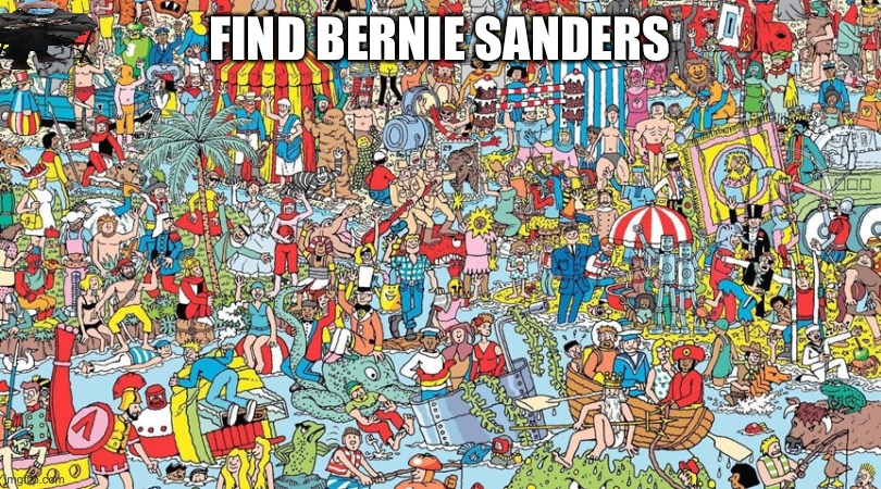 Find him |  FIND BERNIE SANDERS | image tagged in where's waldo | made w/ Imgflip meme maker
