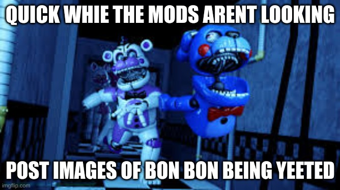 just a regualr post |  QUICK WHIE THE MODS ARENT LOOKING; POST IMAGES OF BON BON BEING YEETED | image tagged in fnaf | made w/ Imgflip meme maker