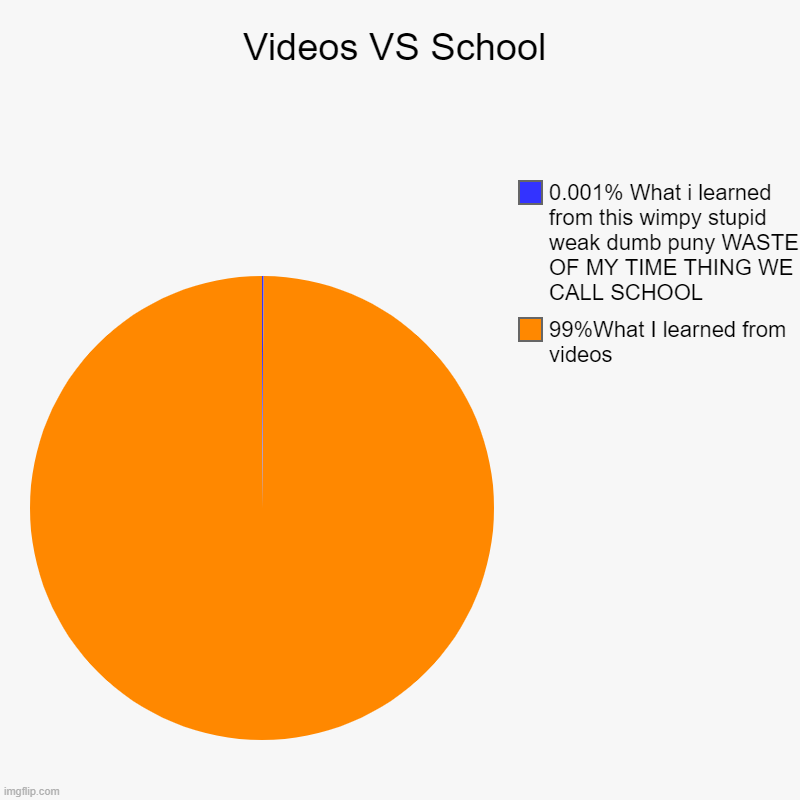 Videos VS School | 99%What I learned from videos, 0.001% What i learned from this wimpy stupid weak dumb puny WASTE OF MY TIME THING WE CALL | image tagged in charts,pie charts | made w/ Imgflip chart maker