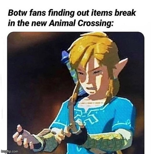 hate it when ya stuff finna break | image tagged in the legend of zelda breath of the wild | made w/ Imgflip meme maker