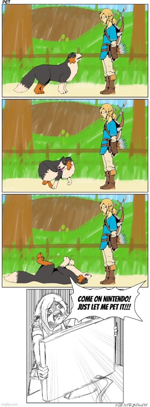 they really need to let you pet it | image tagged in the legend of zelda breath of the wild,link | made w/ Imgflip meme maker