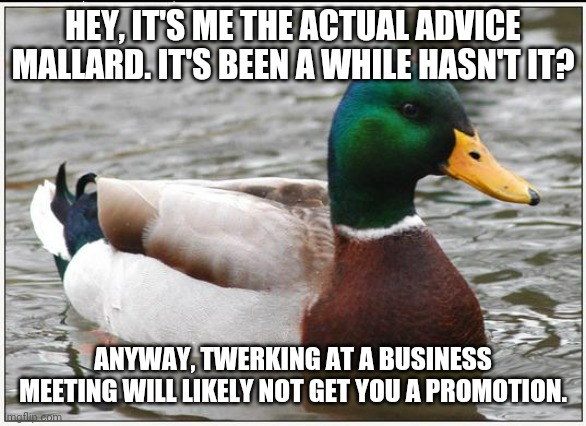 Actual Advice Mallard |  HEY, IT'S ME THE ACTUAL ADVICE MALLARD. IT'S BEEN A WHILE HASN'T IT? ANYWAY, TWERKING AT A BUSINESS MEETING WILL LIKELY NOT GET YOU A PROMOTION. | image tagged in memes,actual advice mallard | made w/ Imgflip meme maker