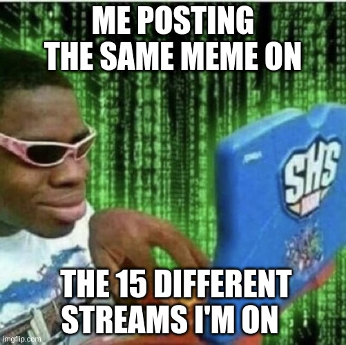 ._. |  ME POSTING THE SAME MEME ON; THE 15 DIFFERENT STREAMS I'M ON | image tagged in ryan beckford | made w/ Imgflip meme maker