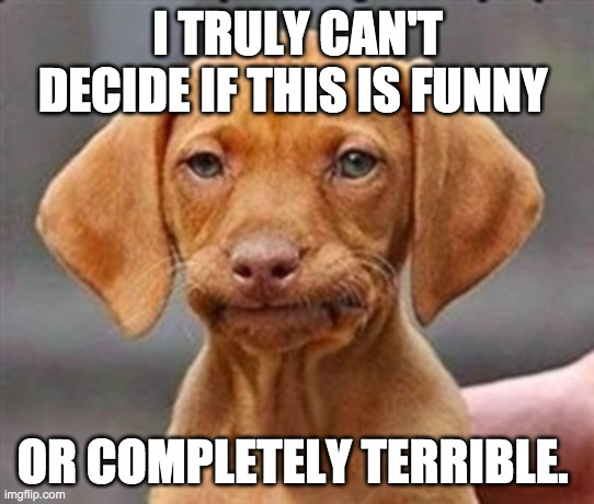 Frustrated dog | I TRULY CAN'T DECIDE IF THIS IS FUNNY OR COMPLETELY TERRIBLE. | image tagged in frustrated dog | made w/ Imgflip meme maker