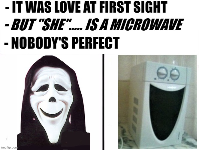 "What's love got to do with it ??? |  - IT WAS LOVE AT FIRST SIGHT; - BUT ""SHE""..... IS A MICROWAVE; - NOBODY'S PERFECT 