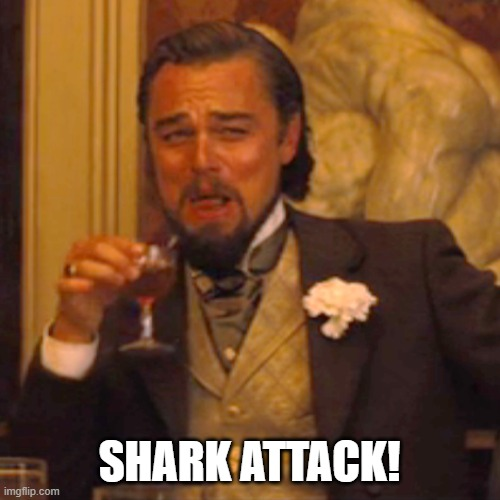 Laughing Leo Meme | SHARK ATTACK! | image tagged in memes,laughing leo | made w/ Imgflip meme maker