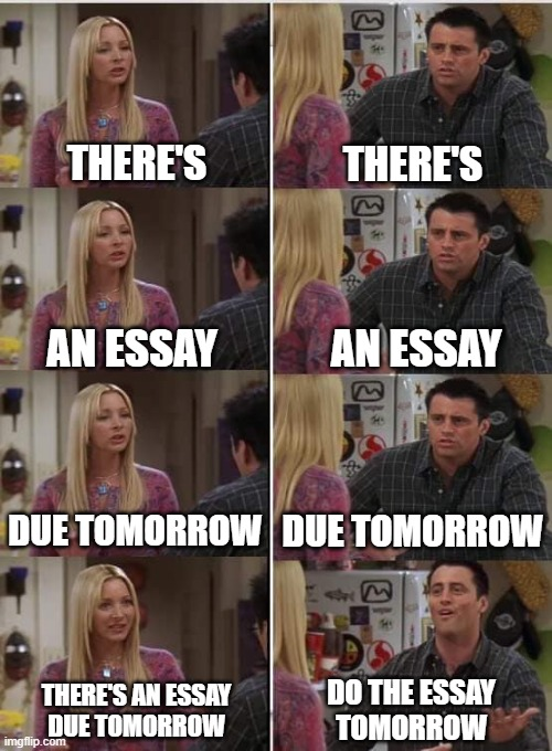 Procrastination |  THERE'S; THERE'S; AN ESSAY; AN ESSAY; DUE TOMORROW; DUE TOMORROW; DO THE ESSAY TOMORROW; THERE'S AN ESSAY DUE TOMORROW | image tagged in phoebe joey | made w/ Imgflip meme maker