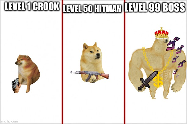 cheems |  LEVEL 50 HITMAN; LEVEL 99 BOSS; LEVEL 1 CROOK | image tagged in funny memes,funny meme,fun,hot | made w/ Imgflip meme maker