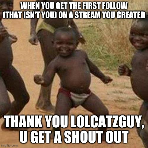 Thx lolcatzguy |  WHEN YOU GET THE FIRST FOLLOW (THAT ISN'T YOU) ON A STREAM YOU CREATED; THANK YOU LOLCATZGUY, U GET A SHOUT OUT | image tagged in memes,third world success kid | made w/ Imgflip meme maker