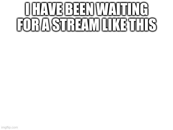 Blank White Template |  I HAVE BEEN WAITING FOR A STREAM LIKE THIS | image tagged in blank white template | made w/ Imgflip meme maker
