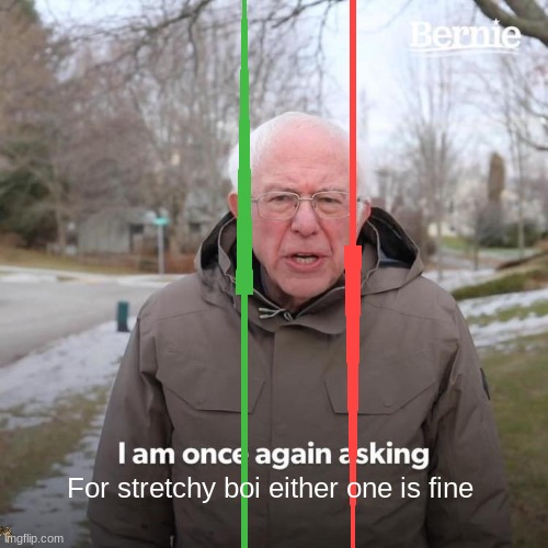 LONG STRETCHY BOI |  For stretchy boi either one is fine | image tagged in memes,bernie i am once again asking for your support | made w/ Imgflip meme maker