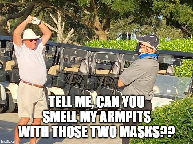 Mask |  TELL ME, CAN YOU SMELL MY ARMPITS WITH THOSE TWO MASKS?? | image tagged in smelly | made w/ Imgflip meme maker