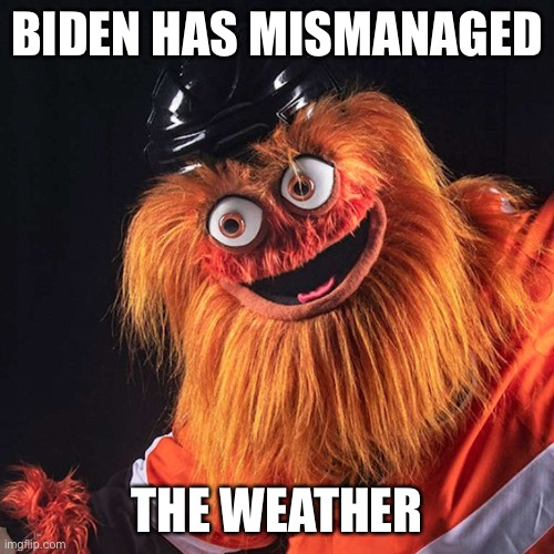 Gritty | BIDEN HAS MISMANAGED THE WEATHER | image tagged in gritty | made w/ Imgflip meme maker