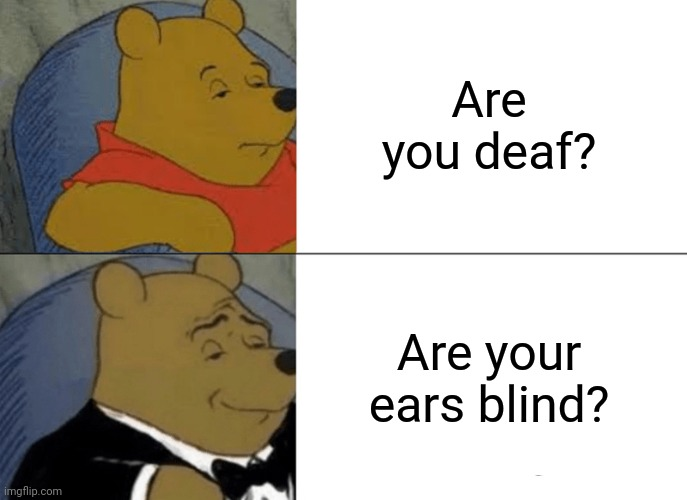 An appropriate title |  Are you deaf? Are your ears blind? | image tagged in memes,tuxedo winnie the pooh,funny | made w/ Imgflip meme maker