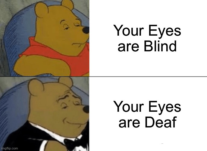 Tuxedo Winnie The Pooh Meme | Your Eyes are Blind Your Eyes are Deaf | image tagged in memes,tuxedo winnie the pooh | made w/ Imgflip meme maker
