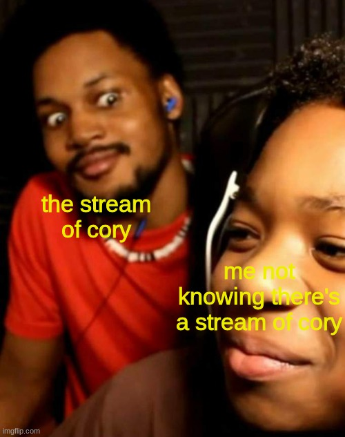 Cory staring at his brother |  the stream of cory; me not knowing there's a stream of cory | image tagged in cory staring at his brother | made w/ Imgflip meme maker