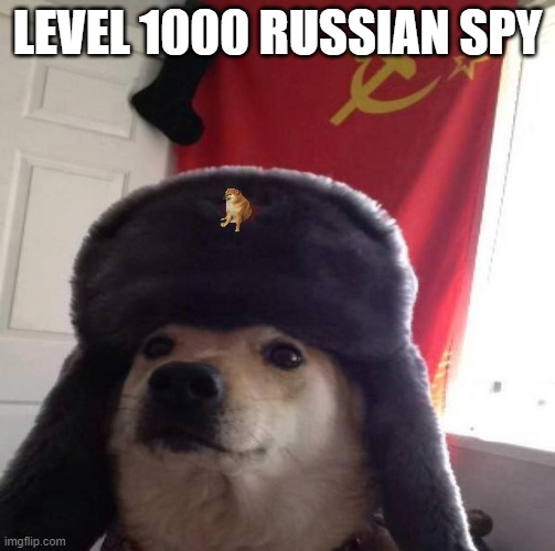 Russian Doge | LEVEL 1000 RUSSIAN SPY | image tagged in russian doge | made w/ Imgflip meme maker