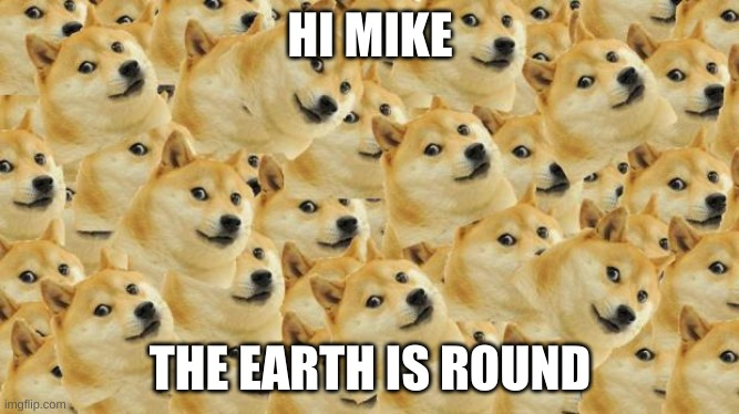 hi mike |  HI MIKE; THE EARTH IS ROUND | image tagged in memes,multi doge | made w/ Imgflip meme maker