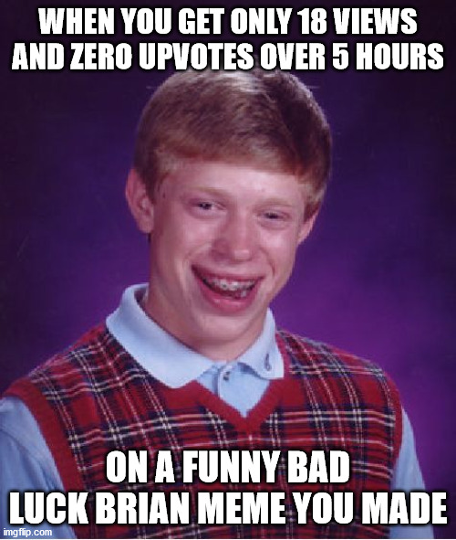 This is meta Bad Luck Brian <:O |  WHEN YOU GET ONLY 18 VIEWS AND ZERO UPVOTES OVER 5 HOURS; ON A FUNNY BAD LUCK BRIAN MEME YOU MADE | image tagged in memes,bad luck brian,views,zero,upvotes,bad | made w/ Imgflip meme maker