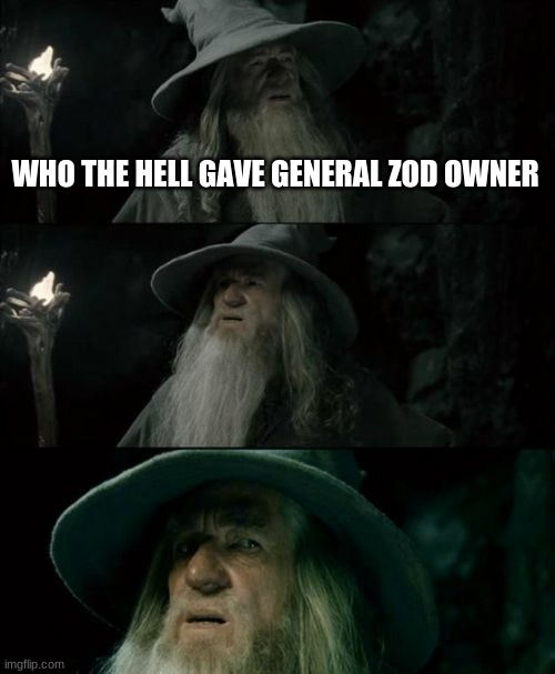 Confused Gandalf |  WHO THE HELL GAVE GENERAL ZOD OWNER | image tagged in memes,confused gandalf | made w/ Imgflip meme maker