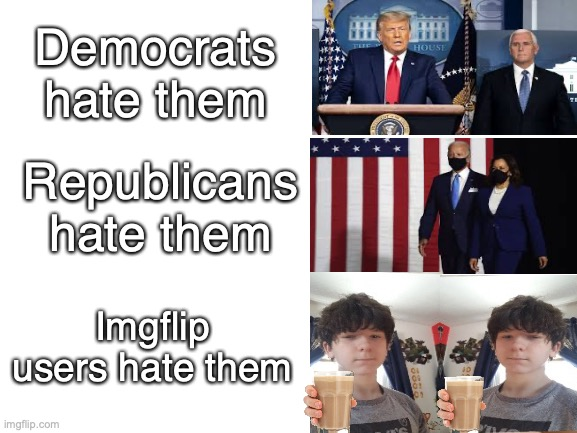 I've been on imgflip for one day and I already hate this dude |  Democrats hate them; Republicans hate them; Imgflip users hate them | image tagged in donald trump,joe biden,mike pence,kamala harris,goku,choccy milk | made w/ Imgflip meme maker