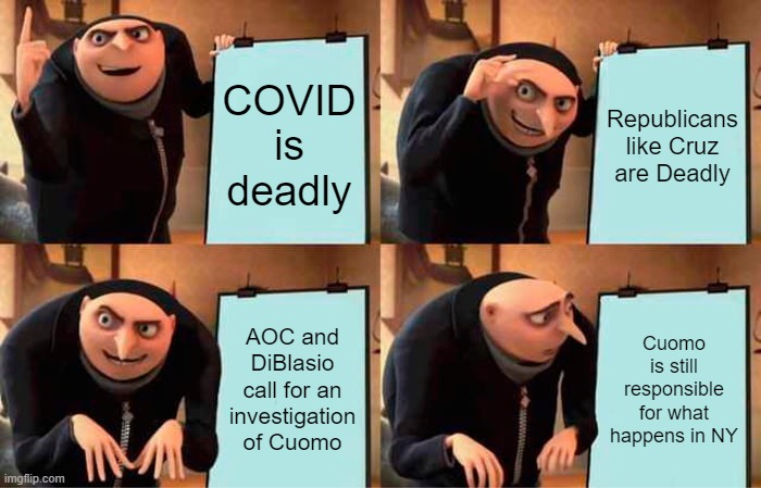 The fallacy of Democrat thinking in NYS.....Stop the fighting. |  COVID is deadly; Republicans like Cruz are Deadly; AOC and DiBlasio call for an investigation of Cuomo; Cuomo is still responsible for what happens in NY | image tagged in memes,gru's plan,new york state,democrats and republicans,stop the fighting | made w/ Imgflip meme maker