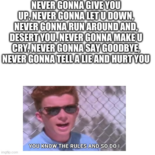 Blank Transparent Square |  NEVER GONNA GIVE YOU UP, NEVER GONNA LET U DOWN, NEVER GONNA RUN AROUND AND, DESERT YOU. NEVER GONNA MAKE U CRY, NEVER GONNA SAY GOODBYE, NEVER GONNA TELL A LIE AND HURT YOU | image tagged in memes,blank transparent square | made w/ Imgflip meme maker