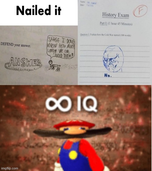 ∞ IQ | image tagged in infinite iq,memes,mario,funny | made w/ Imgflip meme maker