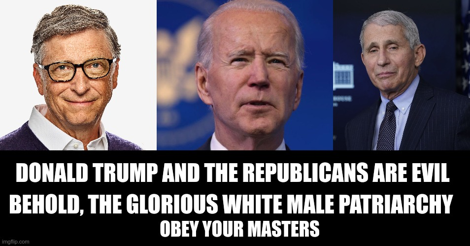 Woke Delusion |  DONALD TRUMP AND THE REPUBLICANS ARE EVIL; BEHOLD, THE GLORIOUS WHITE MALE PATRIARCHY; OBEY YOUR MASTERS | image tagged in white privilege,racism,nwo | made w/ Imgflip meme maker