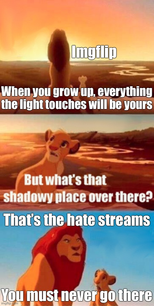 Hate Streams |  Imgflip; When you grow up, everything the light touches will be yours; That's the hate streams; You must never go there | image tagged in memes,simba shadowy place,hate,imgflip,imgflip users,haters | made w/ Imgflip meme maker